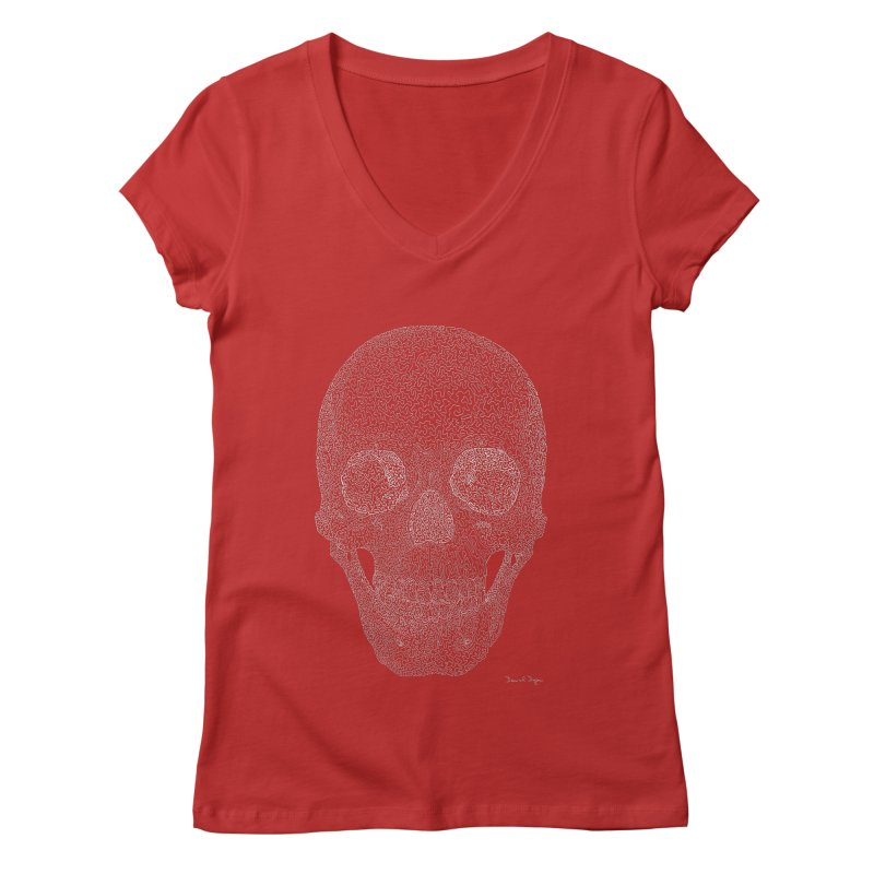 Skull (White) - One Continuous Line Women's V-Neck by Daniel Dugan's Artist Shop
