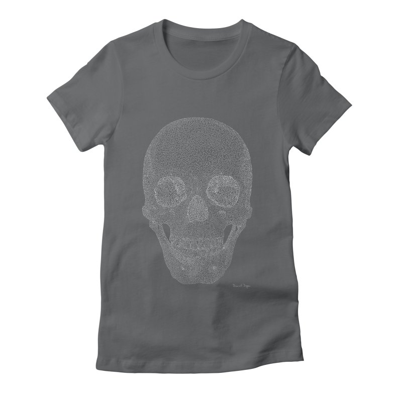 Skull (White) - One Continuous Line Women's Fitted T-Shirt by Daniel Dugan's Artist Shop