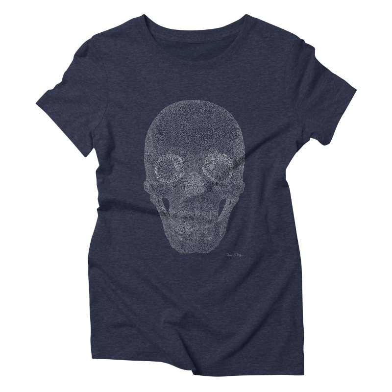 Skull (White) - One Continuous Line Women's Triblend T-Shirt by Daniel Dugan's Artist Shop