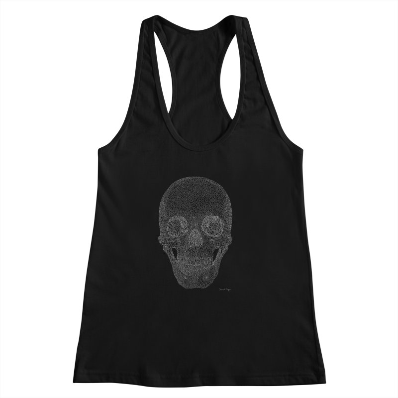 Skull (White) - One Continuous Line Women's Racerback Tank by Daniel Dugan's Artist Shop