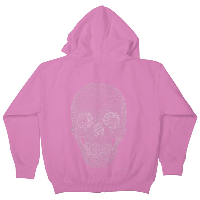 Skull (White) - One Continuous Line Kids Zip-Up Hoody by Daniel Dugan's Artist Shop