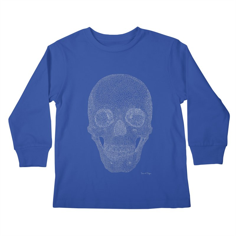 Skull (White) - One Continuous Line Kids Longsleeve T-Shirt by Daniel Dugan's Artist Shop