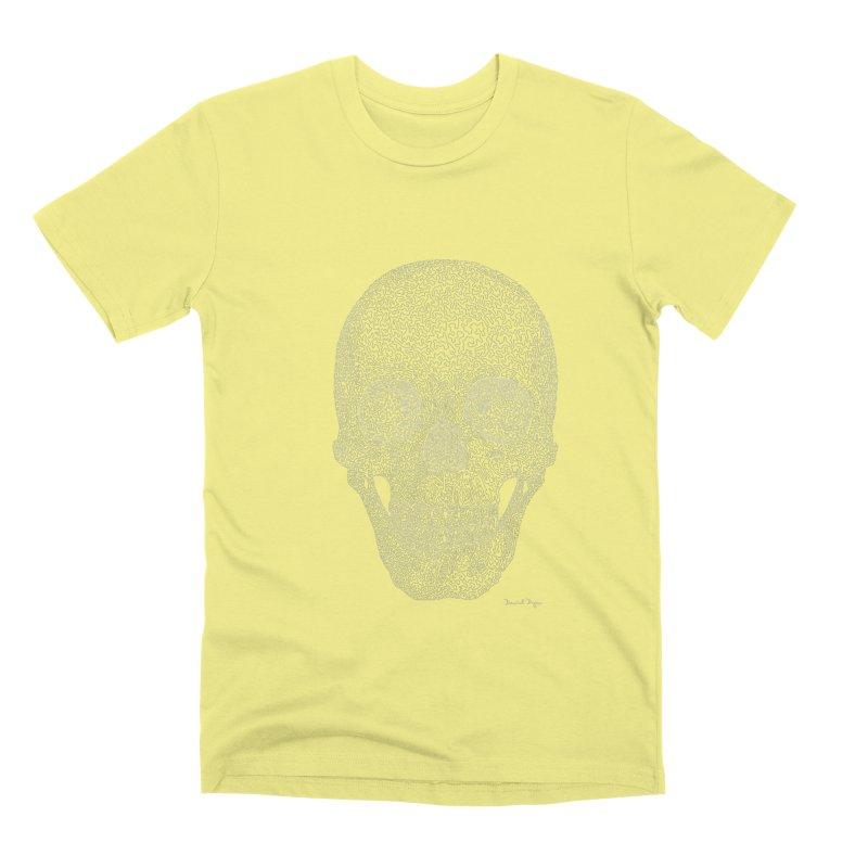 Skull (White) - One Continuous Line Men's Premium T-Shirt by Daniel Dugan's Artist Shop