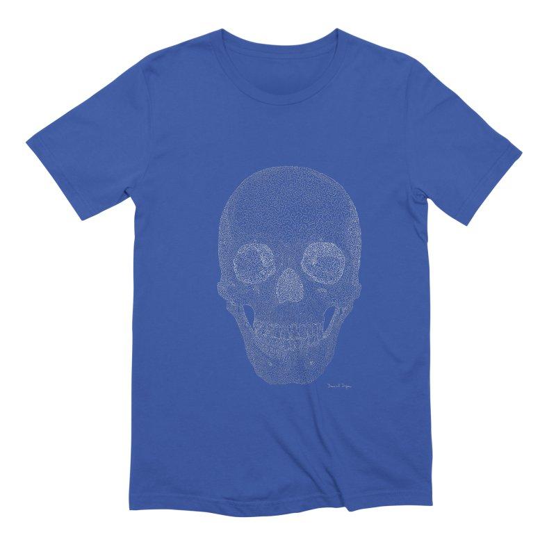 Skull (White) - One Continuous Line Men's Extra Soft T-Shirt by Daniel Dugan's Artist Shop