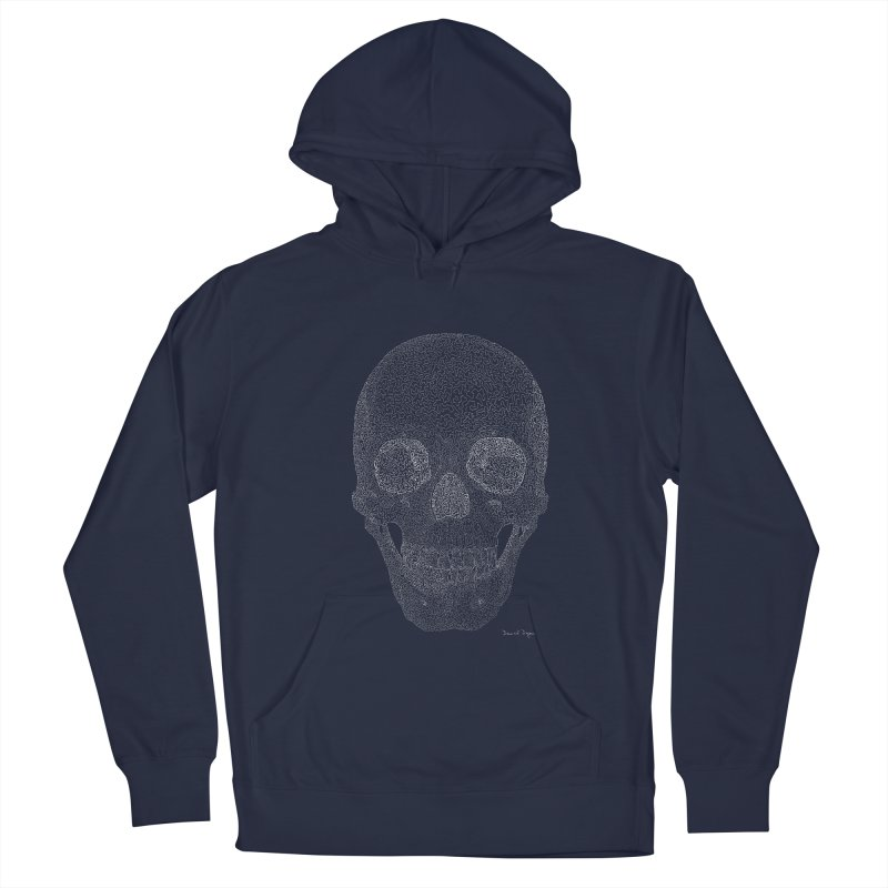Skull (White) - One Continuous Line Men's Pullover Hoody by Daniel Dugan's Artist Shop