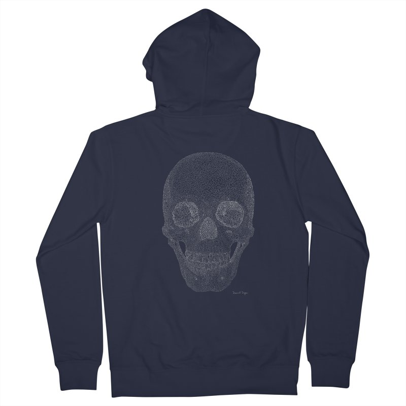 Skull (White) - One Continuous Line Women's Zip-Up Hoody by Daniel Dugan's Artist Shop