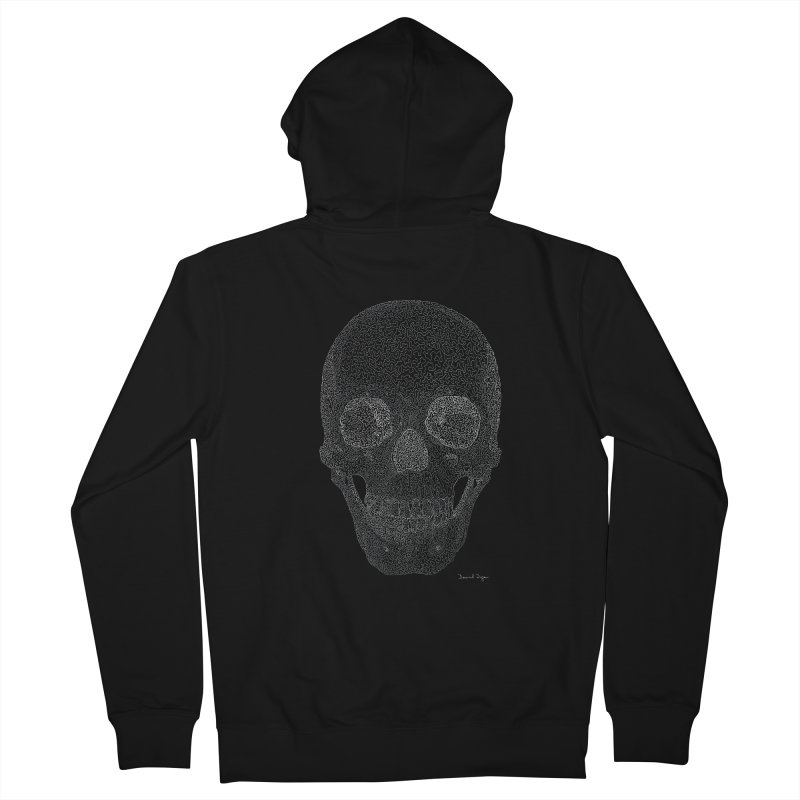 Skull (White) - One Continuous Line in Men's French Terry Zip-Up Hoody Black by Daniel Dugan's Artist Shop