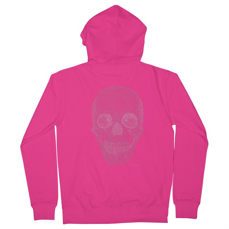 Skull (White) - One Continuous Line Men's Zip-Up Hoody by Daniel Dugan's Artist Shop