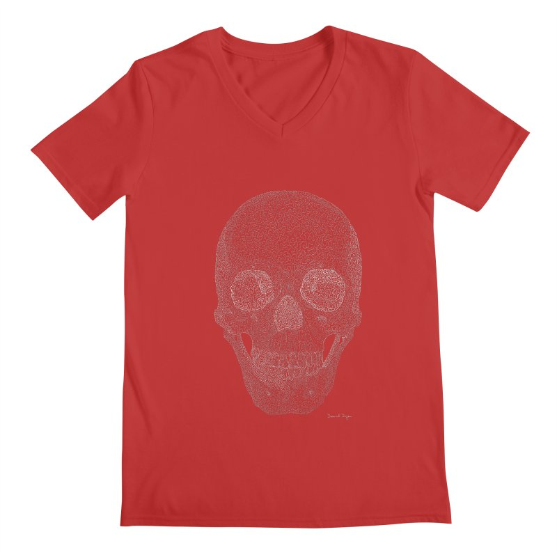 Skull (White) - One Continuous Line Men's V-Neck by Daniel Dugan's Artist Shop