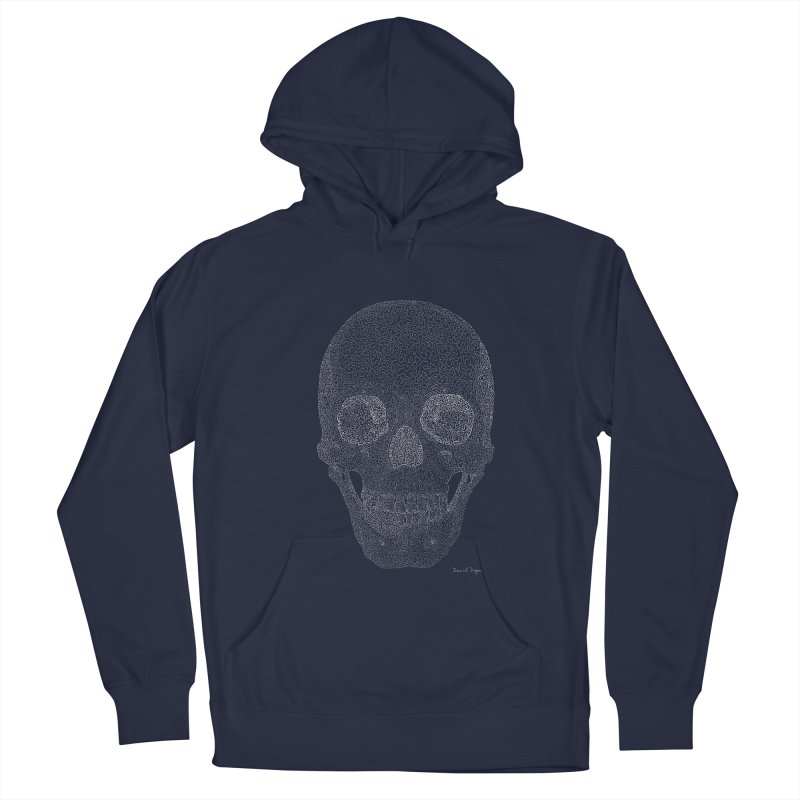 Skull (White) - One Continuous Line Women's French Terry Pullover Hoody by Daniel Dugan's Artist Shop