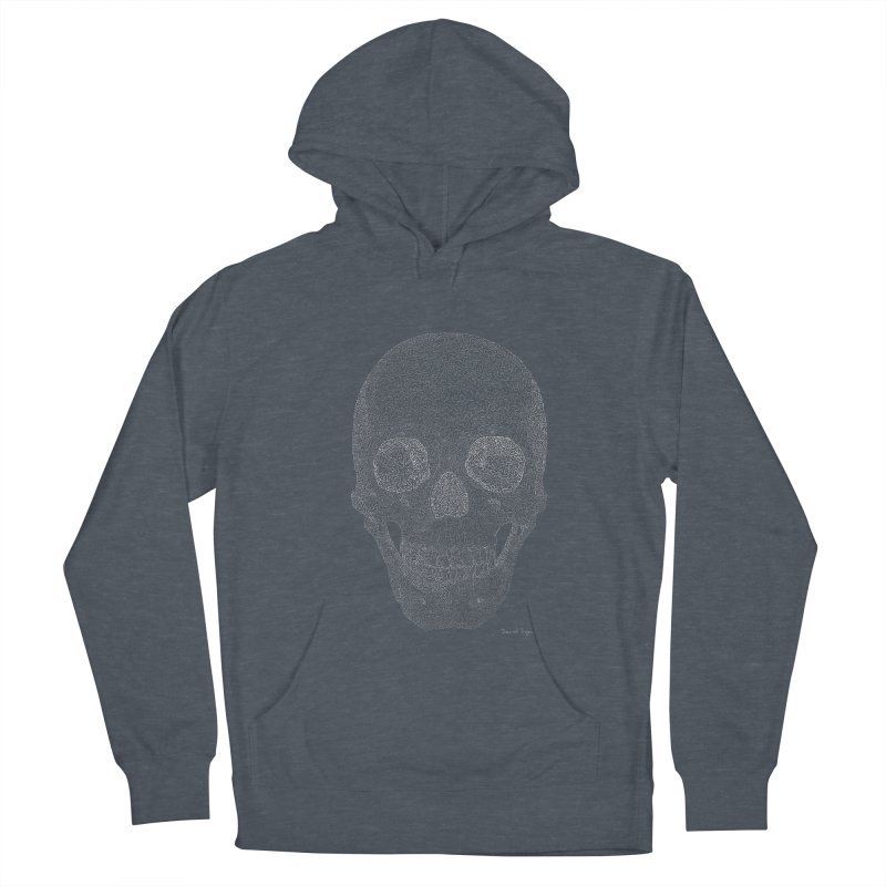 Skull (White) - One Continuous Line Men's French Terry Pullover Hoody by Daniel Dugan's Artist Shop