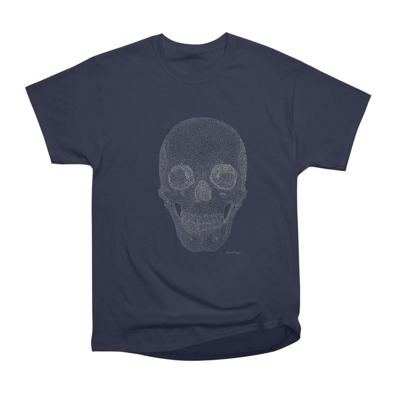 Skull (White) - One Continuous Line Women's Heavyweight Unisex T-Shirt by Daniel Dugan's Artist Shop