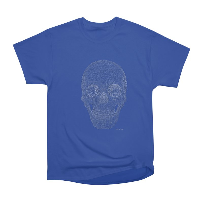 Skull (White) - One Continuous Line Women's Heavyweight Unisex T-Shirt by Daniel Dugan's Artist Shop