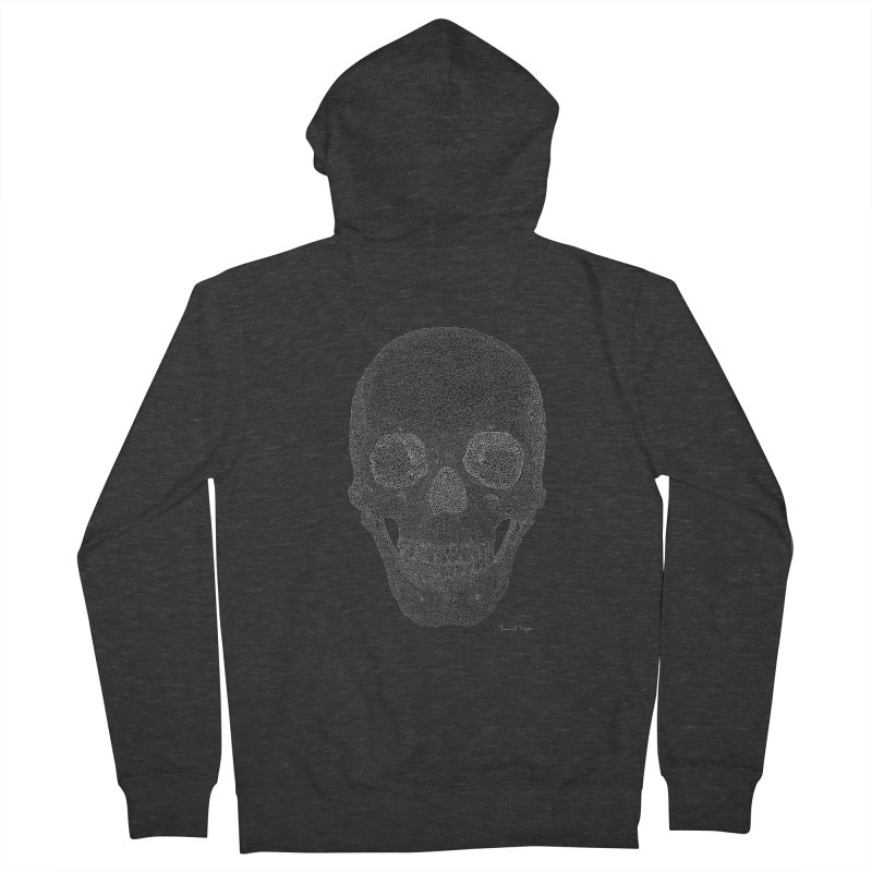 Skull (White) - One Continuous Line Men's French Terry Zip-Up Hoody by Daniel Dugan's Artist Shop