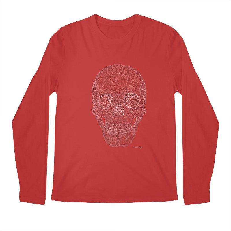 Skull (White) - One Continuous Line Men's Regular Longsleeve T-Shirt by Daniel Dugan's Artist Shop