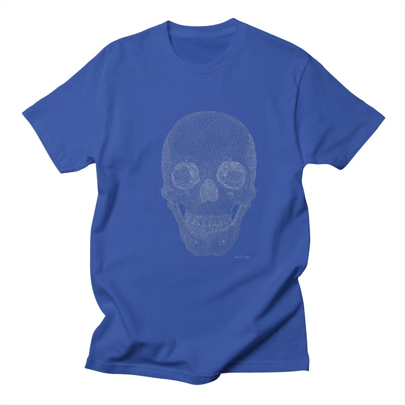 Skull (White) - One Continuous Line Women's Regular Unisex T-Shirt by Daniel Dugan's Artist Shop