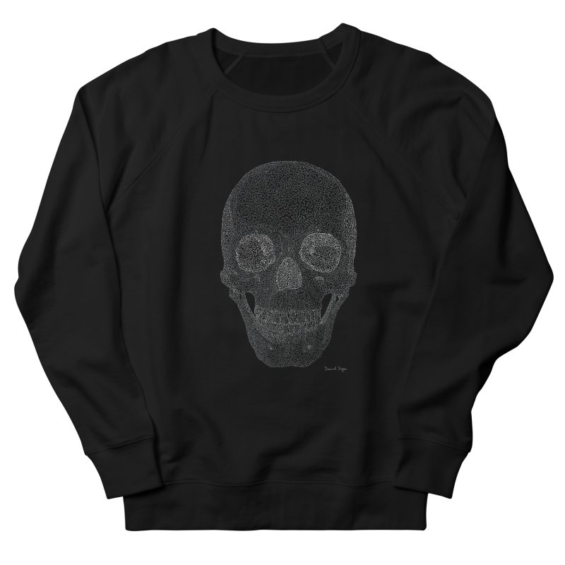Skull (White) - One Continuous Line Women's French Terry Sweatshirt by Daniel Dugan's Artist Shop