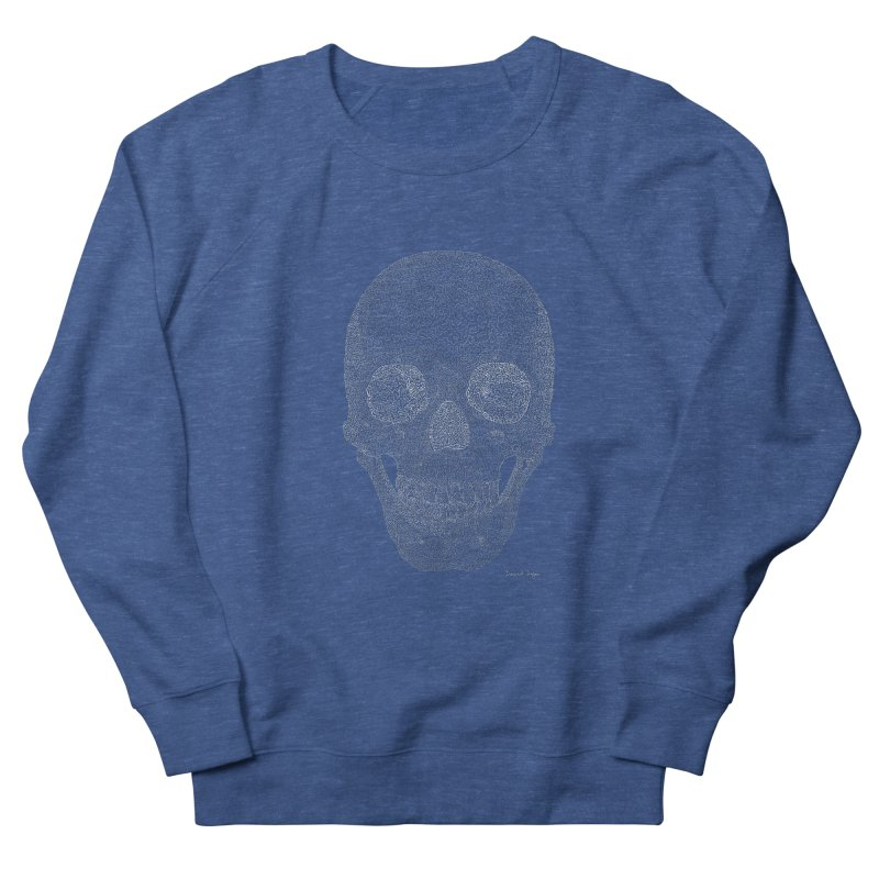 Skull (White) - One Continuous Line Men's Sweatshirt by Daniel Dugan's Artist Shop