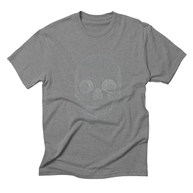 Skull (White) - One Continuous Line Men's Triblend T-Shirt by Daniel Dugan's Artist Shop