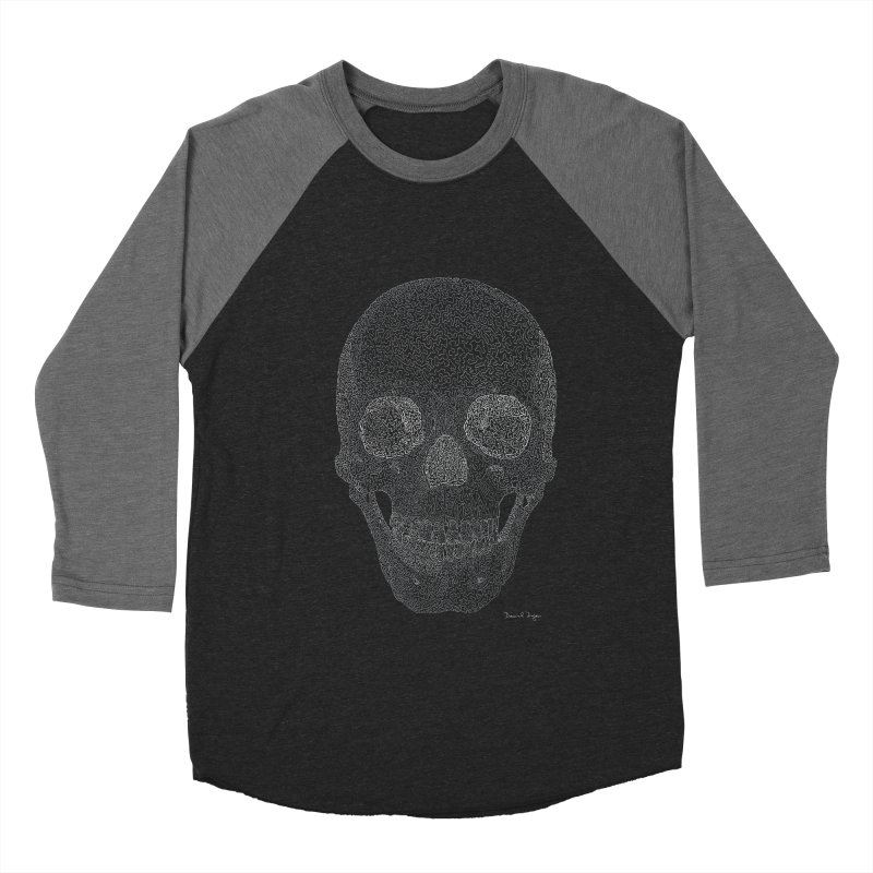 Skull (White) - One Continuous Line Women's Baseball Triblend Longsleeve T-Shirt by Daniel Dugan's Artist Shop