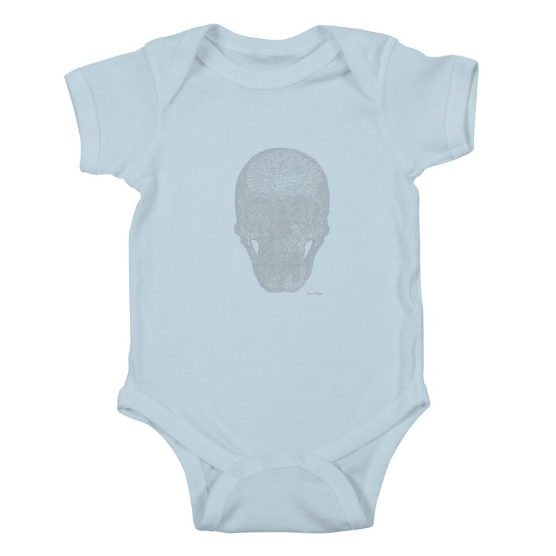 Skull (White) - One Continuous Line Kids Baby Bodysuit by Daniel Dugan's Artist Shop