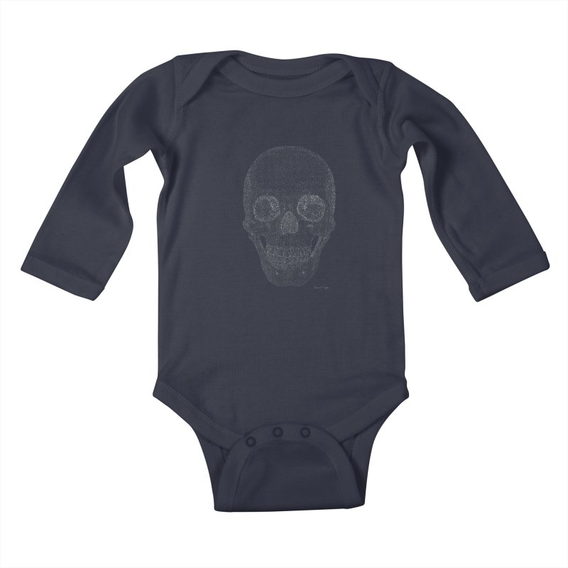Skull (White) - One Continuous Line Kids Baby Longsleeve Bodysuit by Daniel Dugan's Artist Shop