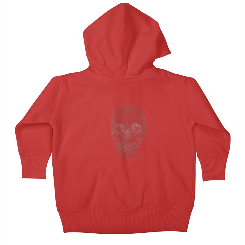 Skull (White) - One Continuous Line Kids Baby Zip-Up Hoody by Daniel Dugan's Artist Shop