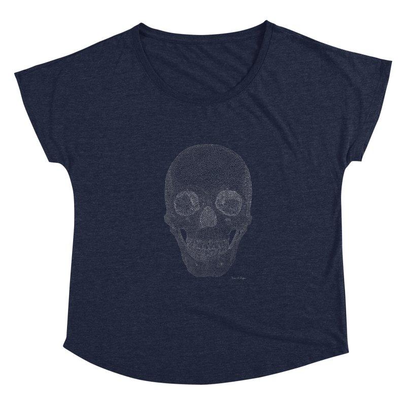 Skull (White) - One Continuous Line Women's Dolman Scoop Neck by Daniel Dugan's Artist Shop