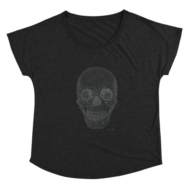 Skull (White) - One Continuous Line Women's Scoop Neck by Daniel Dugan's Artist Shop