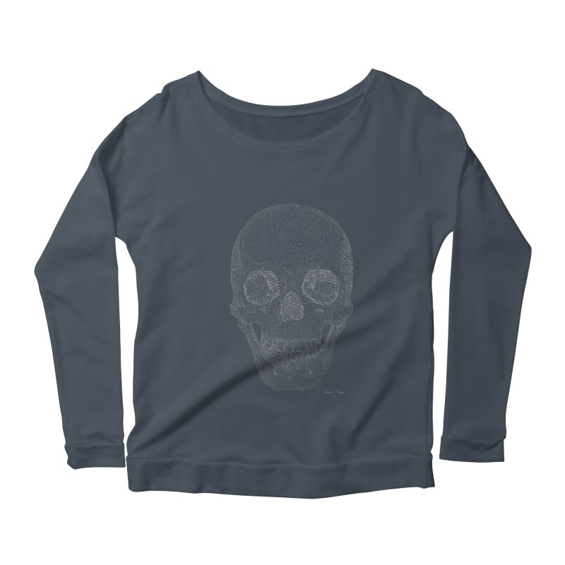 Skull (White) - One Continuous Line Women's Scoop Neck Longsleeve T-Shirt by Daniel Dugan's Artist Shop
