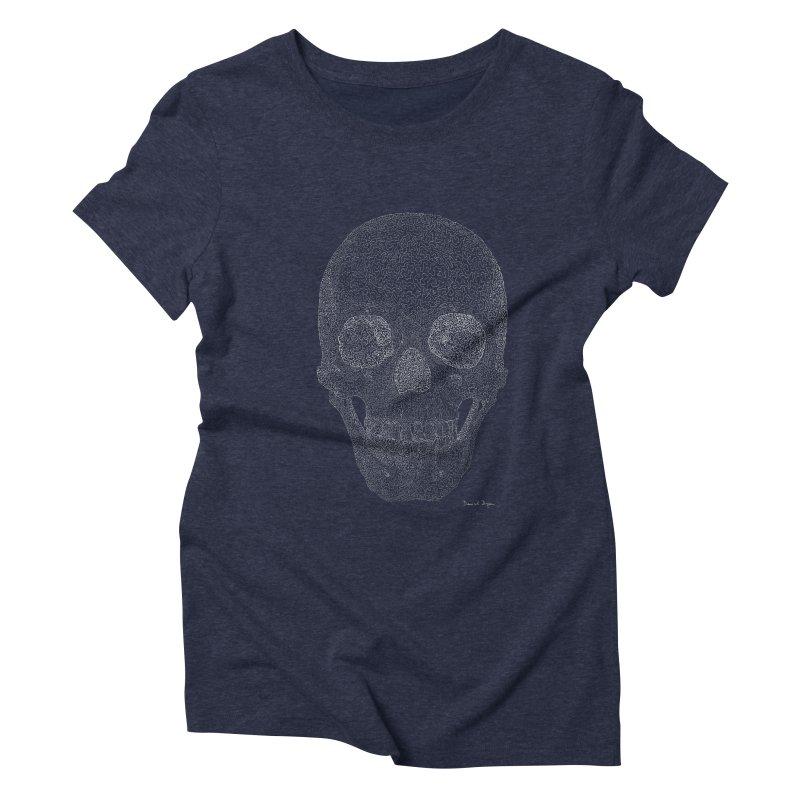 Skull (White) - One Continuous Line Women's Triblend T-Shirt by Daniel Dugan's Artist Shop