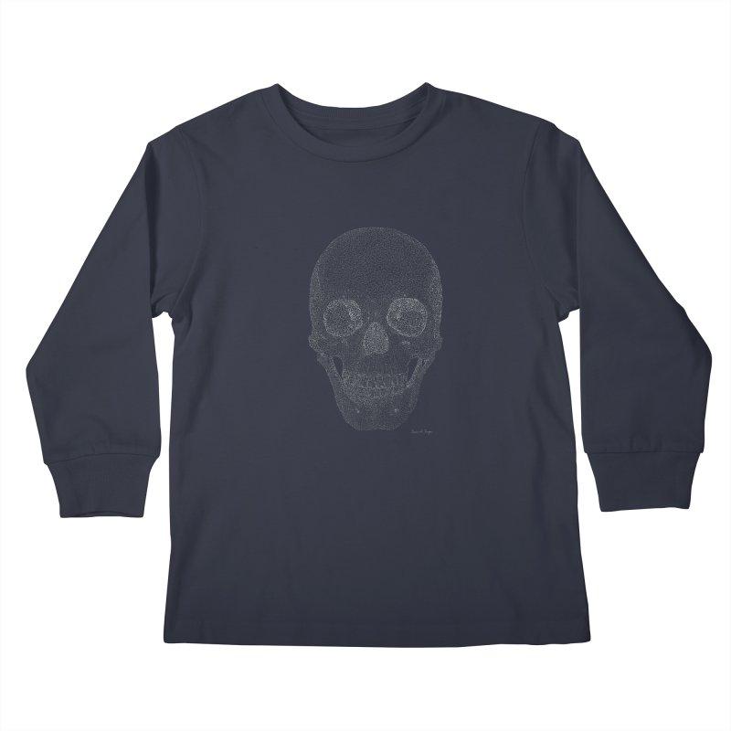 Skull (White) - One Continuous Line Kids Longsleeve T-Shirt by Daniel Dugan's Artist Shop