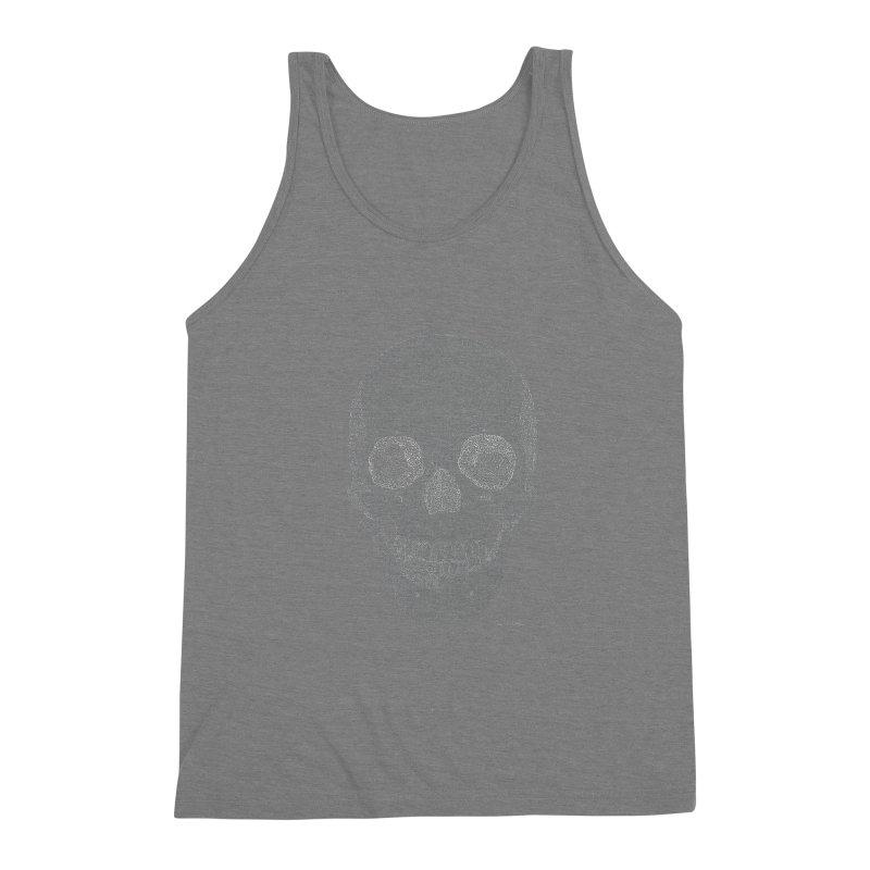 Skull (White) - One Continuous Line Men's Triblend Tank by Daniel Dugan's Artist Shop