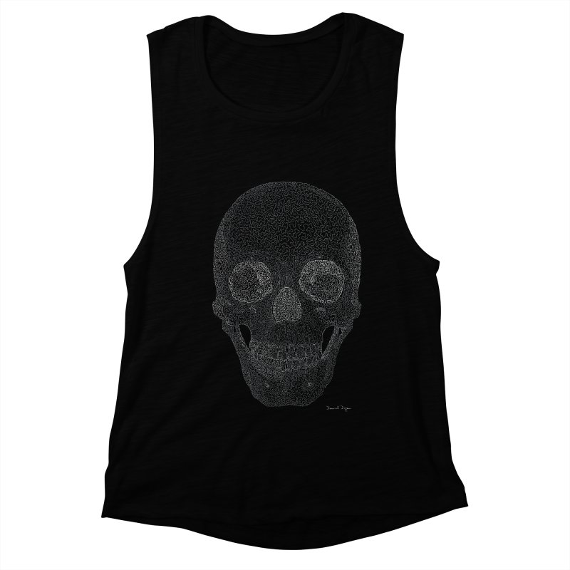 Skull (White) - One Continuous Line Women's Muscle Tank by Daniel Dugan's Artist Shop