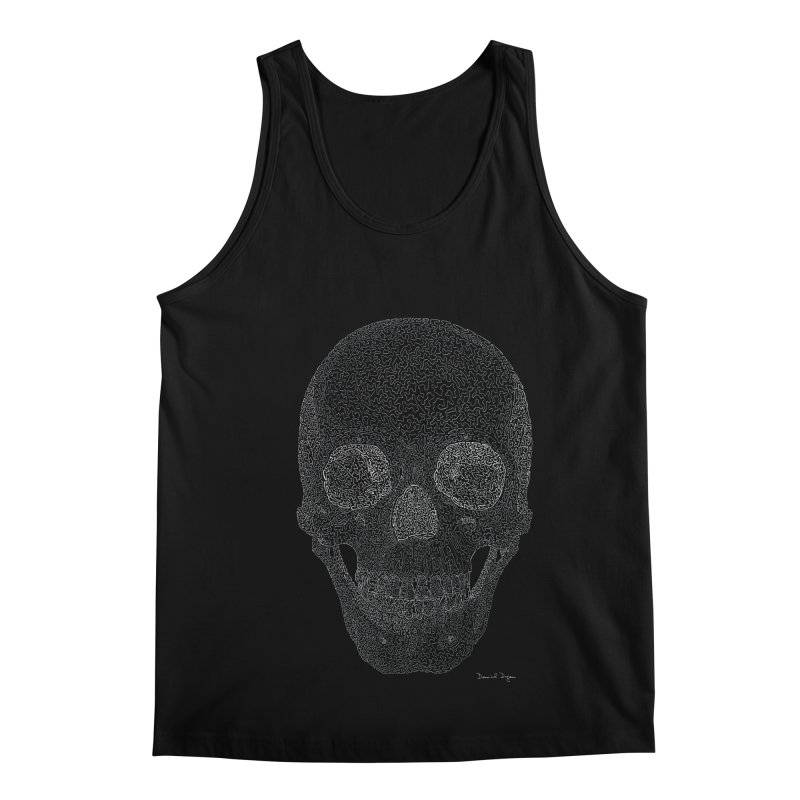 Skull (White) - One Continuous Line Men's Regular Tank by Daniel Dugan's Artist Shop