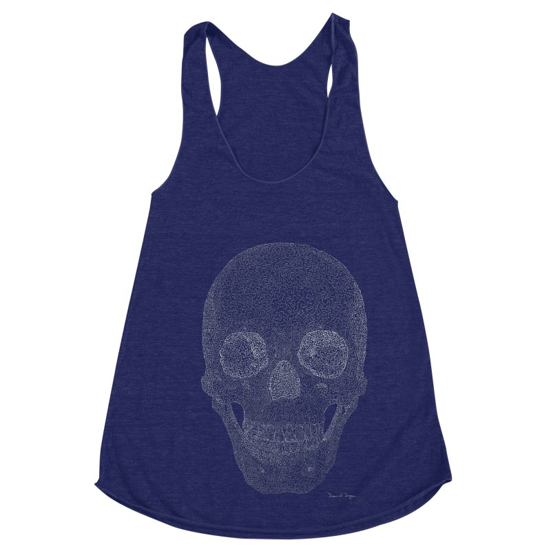 Skull (White) - One Continuous Line Women's Racerback Triblend Tank by Daniel Dugan's Artist Shop