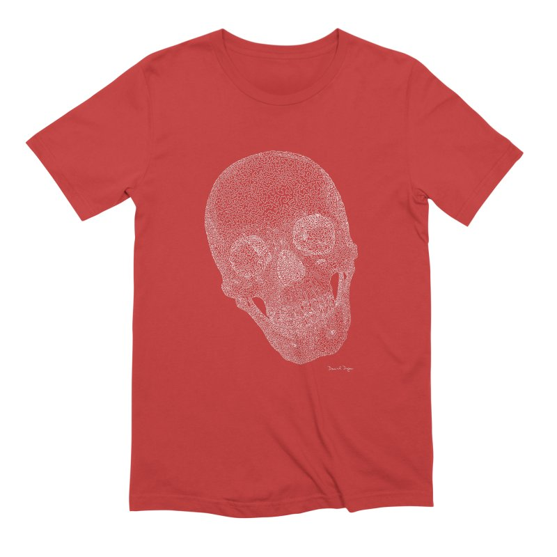 Skull (White) - One Continuous Line Men's Extra Soft T-Shirt by Daniel Dugan's Artist Shop