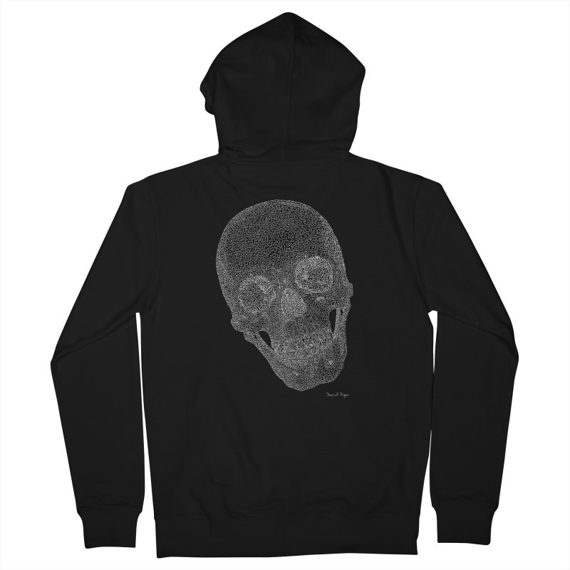 Skull (White) - One Continuous Line Men's Zip-Up Hoody by Daniel Dugan's Artist Shop