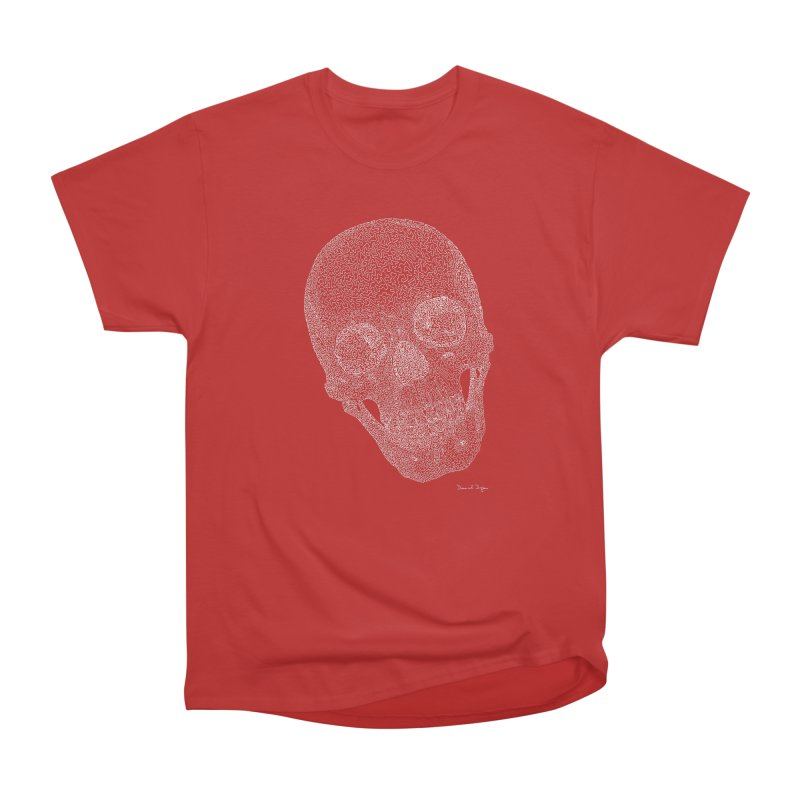 Skull (White) - One Continuous Line Men's Heavyweight T-Shirt by Daniel Dugan's Artist Shop