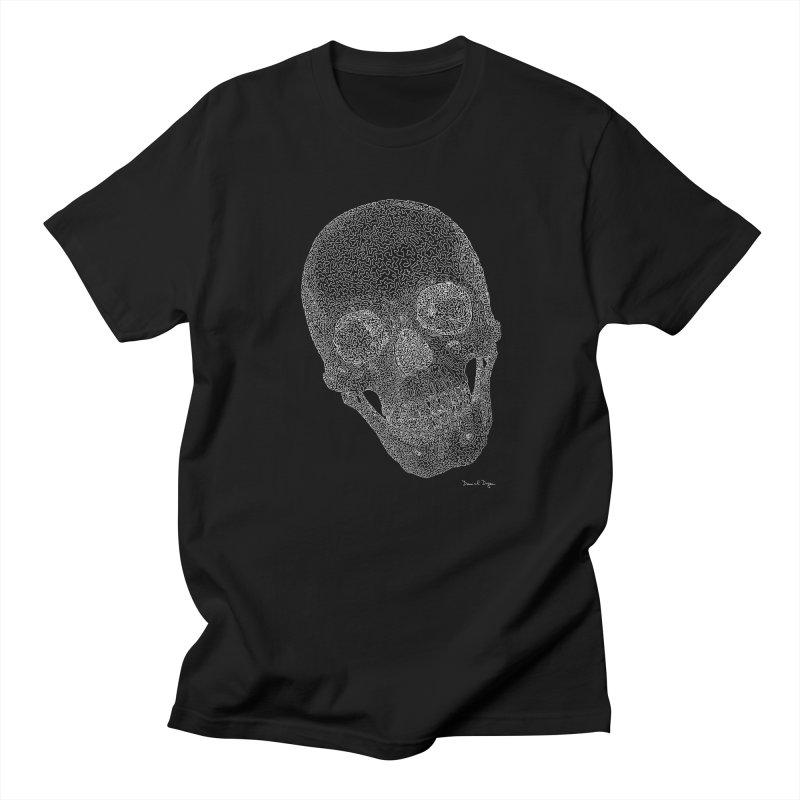 Skull (White) - One Continuous Line Men's Regular T-Shirt by Daniel Dugan's Artist Shop