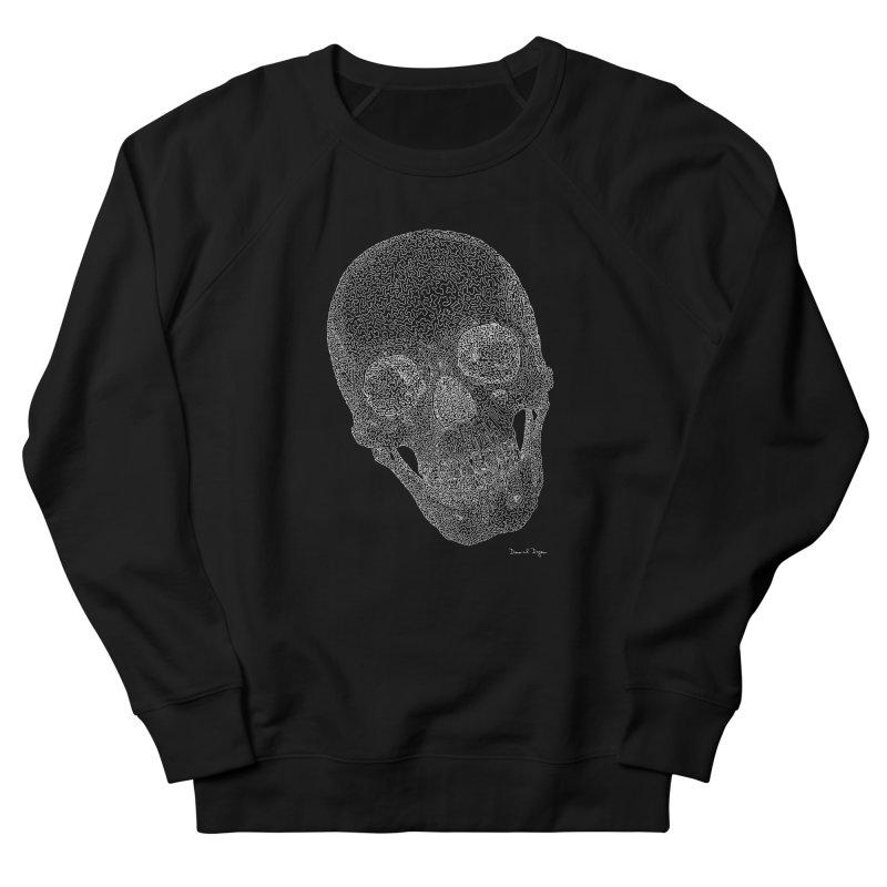Skull (White) - One Continuous Line Men's Sweatshirt by Daniel Dugan's Artist Shop