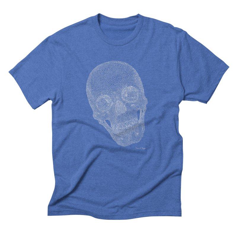Skull (White) - One Continuous Line Men's Triblend T-Shirt by Daniel Dugan's Artist Shop