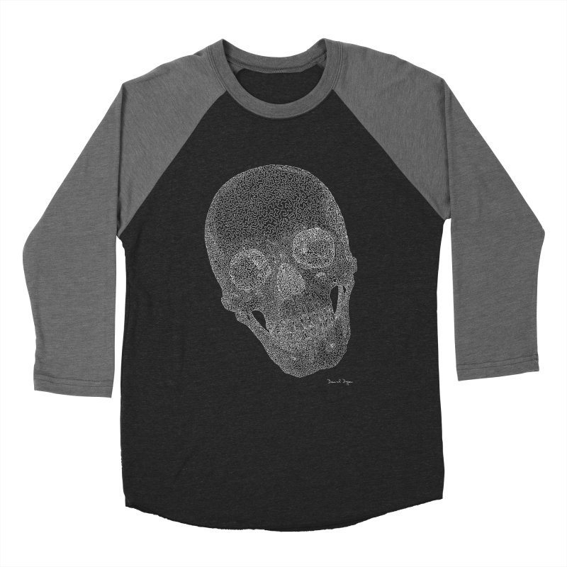 Skull (White) - One Continuous Line Men's Baseball Triblend Longsleeve T-Shirt by Daniel Dugan's Artist Shop