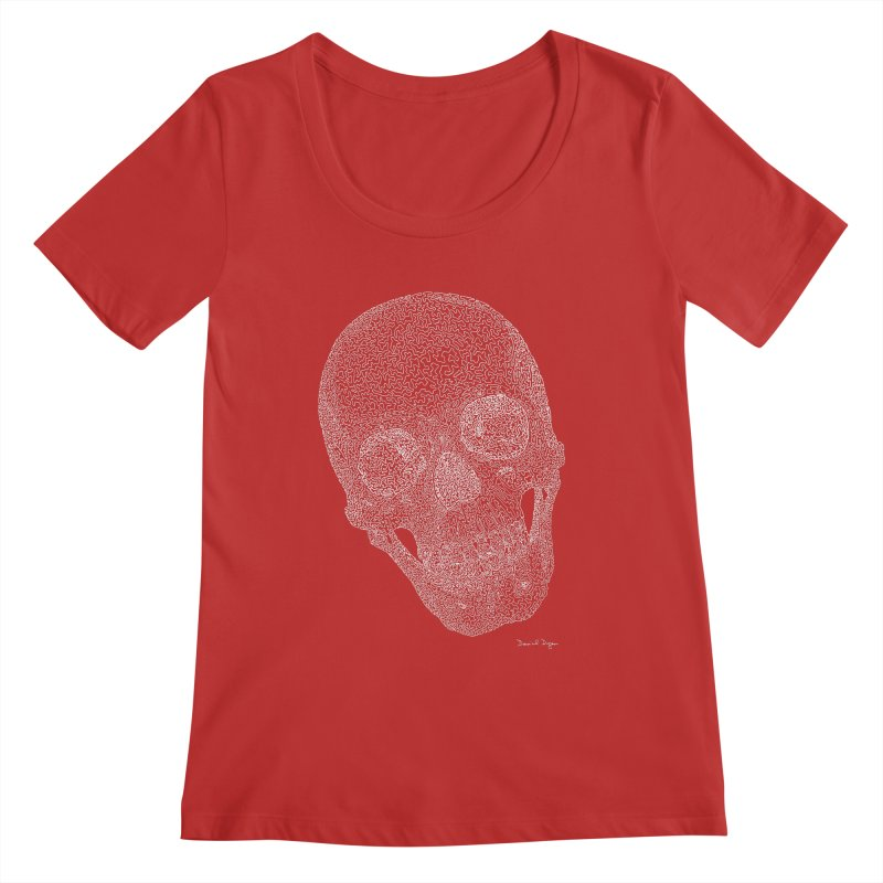 Skull (White) - One Continuous Line Women's Scoop Neck by Daniel Dugan's Artist Shop