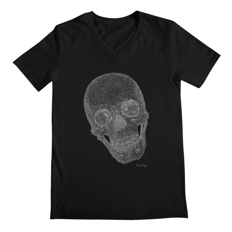 Skull (White) - One Continuous Line Men's Regular V-Neck by Daniel Dugan's Artist Shop
