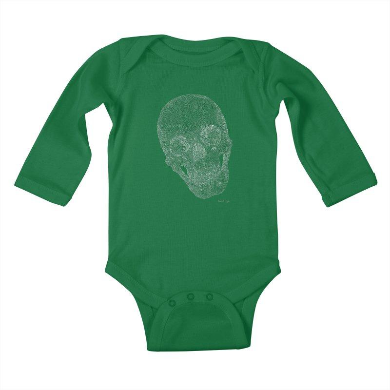 Skull (White) - One Continuous Line Kids Baby Longsleeve Bodysuit by Daniel Dugan's Artist Shop