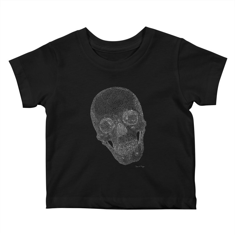 Skull (White) - One Continuous Line Kids Baby T-Shirt by Daniel Dugan's Artist Shop