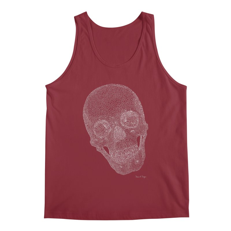 Skull (White) - One Continuous Line Men's Regular Tank by Daniel Dugan's Artist Shop