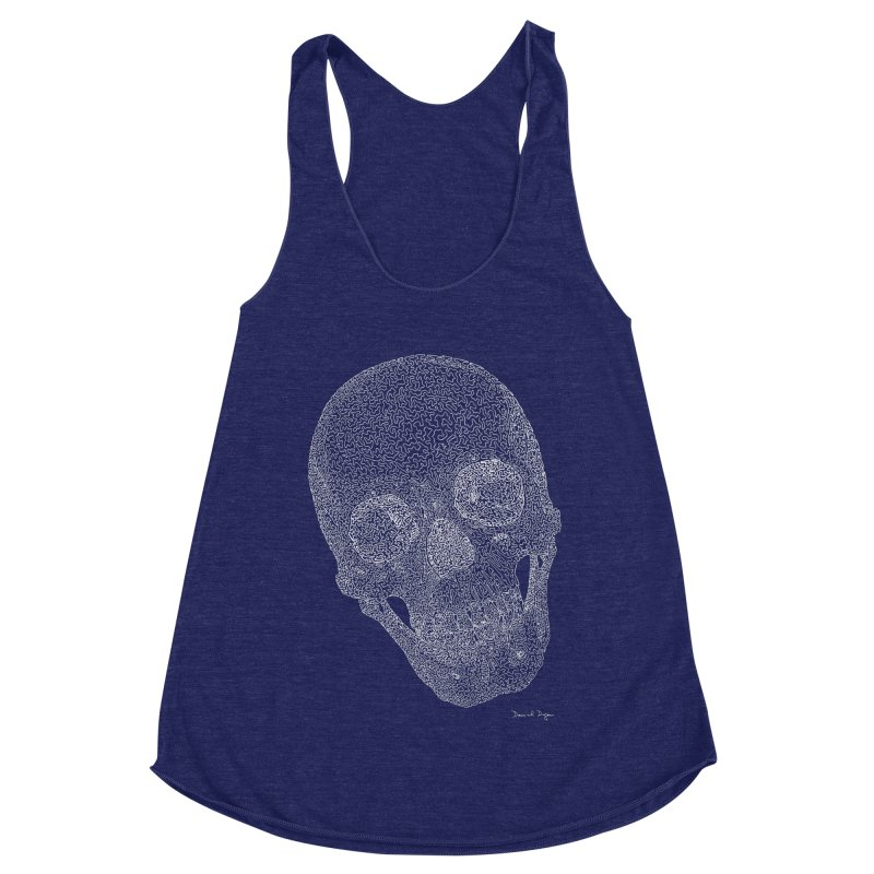 Skull (White) - One Continuous Line Women's Racerback Triblend Tank by Daniel Dugan's Artist Shop