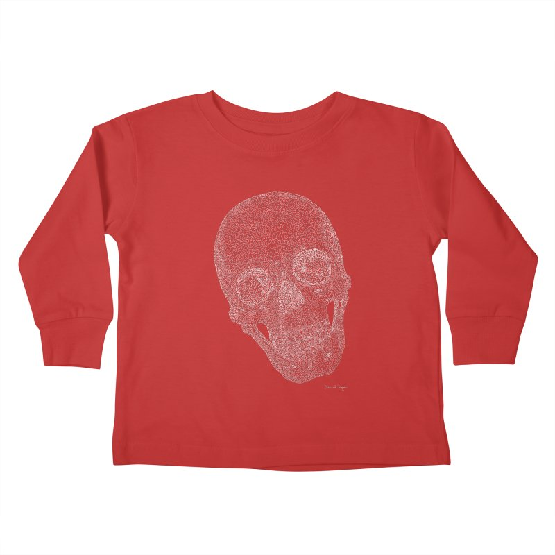 Skull (White) - One Continuous Line Kids Toddler Longsleeve T-Shirt by Daniel Dugan's Artist Shop